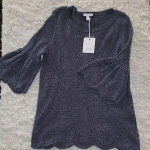 New Lauren Conrad Knit bellsleeve blouse s